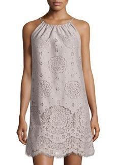 Max Studio Lace Halter Shift Dress, Gray