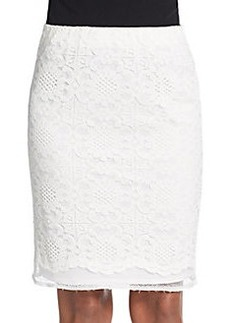 Max Studio Lace Mesh Pencil Skirt