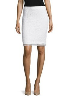 Max Studio Lace Overlay Pencil Skirt, Ivory