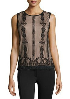 Max Studio Lace Sleeveless Blouse, Black/Nude