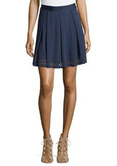 Max Studio Laser-Cut Ponte Skirt, Navy
