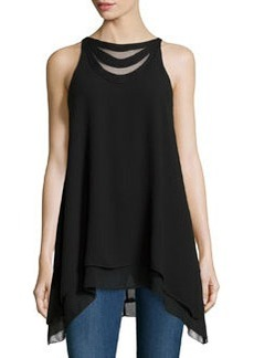 Max Studio Layered Crepe Sleeveless Blouse, Black