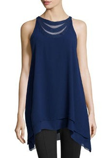 Max Studio Layered Crepe Sleeveless Blouse, Purple Blue