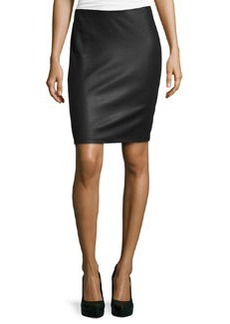 Max Studio Leather-Textured Pencil Skirt, Black
