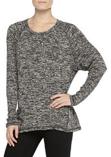 Max Studio Marbled Knit Top, Black-Ivory