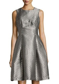 Max Studio Metallic Jacquard Sleeveless Dress, Pewter/Copper
