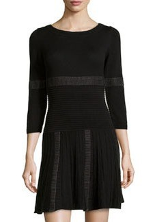 Max Studio Mixed Stripe Ribbed Knit Sweater Dress, Black/Gray