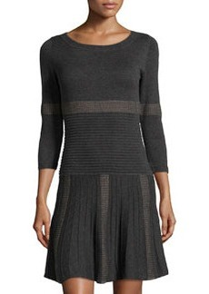 Max Studio Mixed Stripe Ribbed Knit Sweater Dress, Charcoal/Taupe