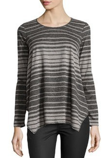 Max Studio Ombre Striped Jersey Top, Heather Charcoal/Heather Steel