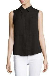 Max Studio Patch-Front Sleeveless Blouse, Black