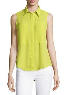 Max Studio Patch-Front Sleeveless Blouse, Citron