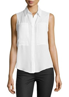 Max Studio Patch-Front Sleeveless Blouse