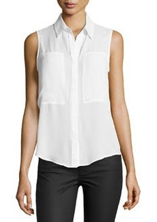 Max Studio Patch-Front Sleeveless Blouse, Off White