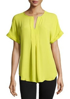 Max Studio Pleated-Front Rolled-Cuff Blouse, Citron