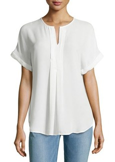 Max Studio Pleated-Front Rolled-Cuff Blouse