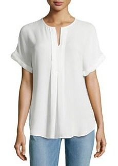 Max Studio Pleated-Front Rolled-Cuff Blouse, Off White