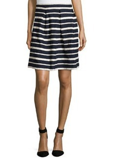 Max Studio Pleated-Front Striped Skirt, Dark Navy