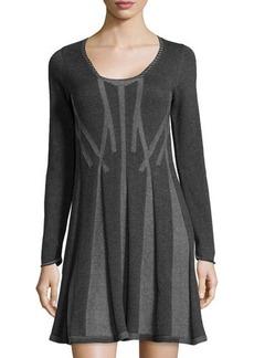 Max Studio Pleated Knit Sweater Dress