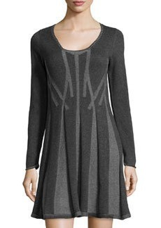 Max Studio Pleated Knit Sweater Dress, Charcoal/Steel