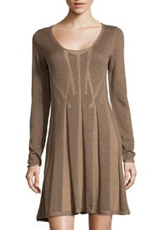 Max Studio Pleated Knit Sweater Dress, Mocha/Cafe