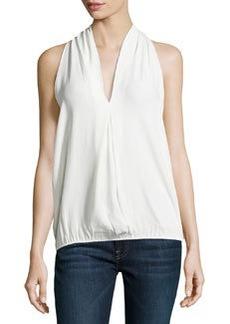 Max Studio Pleated V-Neck Sleeveless Blouse, Off White