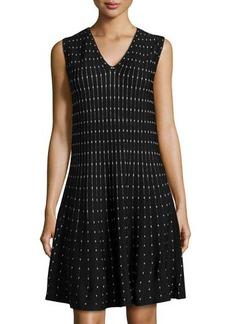 Max Studio Polka Dot-Print Fit-and-Flare Knit Dress