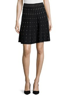 Max Studio Polka Dot Stretch-Knit Circle Skirt, Black/Ivory