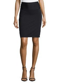 Max Studio Ponte Tiered-Waist Skirt, Black