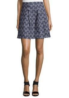 Max Studio Printed A-Line Skirt, Dark Navy