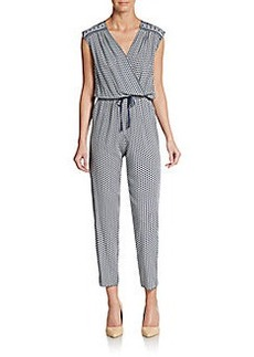 Max Studio Printed Cropped Blouson Jumpsuit