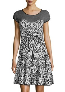 Max Studio Printed Fit-And-Flare Sweaterdress