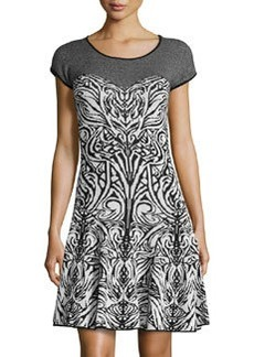 Max Studio Printed Fit-And-Flare Sweaterdress, Black/Ivory