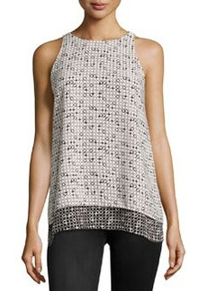 Max Studio Printed Sleeveless Blouse, Black/Ivory