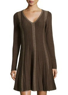 Max Studio Ribbed Knit Sweater Dress, Wood/Khaki