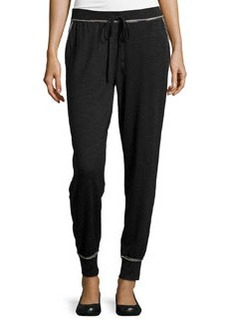 Max Studio Rolled Trim Jogger Pants, Black/Ecru