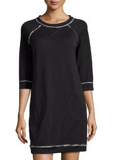 Max Studio Rolled Trim Sweatshirt Dress, Black/Ecru
