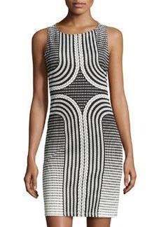 Max Studio Rope-Print Sleeveless Scuba Dress, Black/Ivory