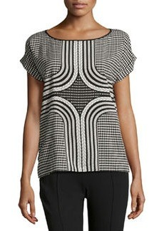 Max Studio Rope/Geo-Print Top, Black/Filament