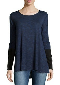 Max Studio Round-Neck Pullover W/ Colorblocked Sleeves, Blue/Black