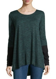 Max Studio Round-Neck Pullover W/ Colorblocked Sleeves, Evergreen/Black
