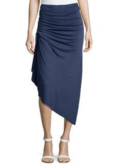 Max Studio Ruched Asymmetric Skirt, Heather Indigo