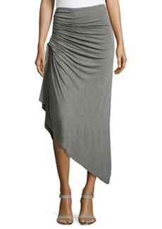 Max Studio Ruched Asymmetric Skirt, Heather Steel