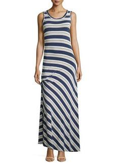 Max Studio Ruched Striped Maxi Dress