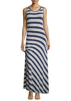 Max Studio Ruched Striped Maxi Dress, Indigo/Chambray/Natural