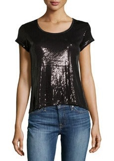 Max Studio Sequin Short-Sleeve Top, Black