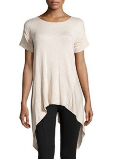 Max Studio Sharkbite-Hem Scoop-Neck Tee, Heather Bone