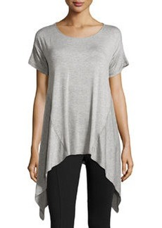 Max Studio Sharkbite-Hem Scoop-Neck Tee, Light Heather Gray