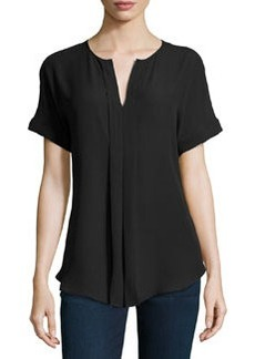 Max Studio Short-Sleeve Pleated Habutai Blouse, Black