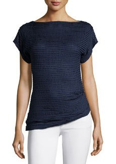 Max Studio Short-Sleeve Tiered-Lace Top, Navy