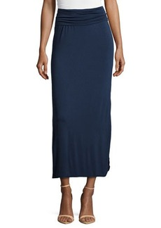 Max Studio Side-Slit Jersey Maxi Skirt